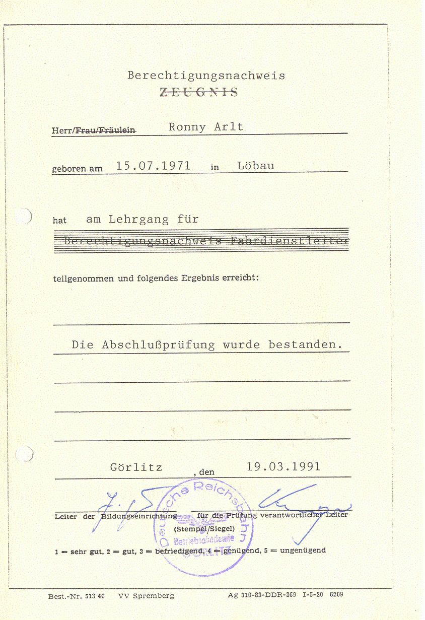 Berechtigung Fdl 1991